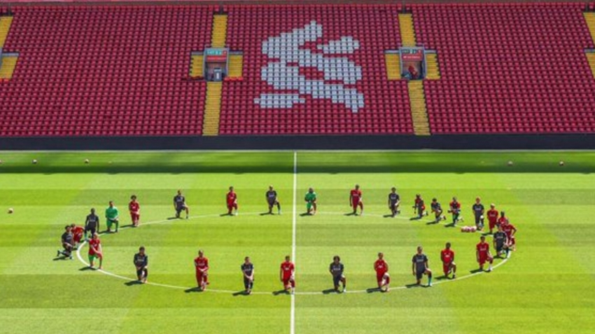 Liverpool stars take a knee in solidarity with Black Lives Matter movement