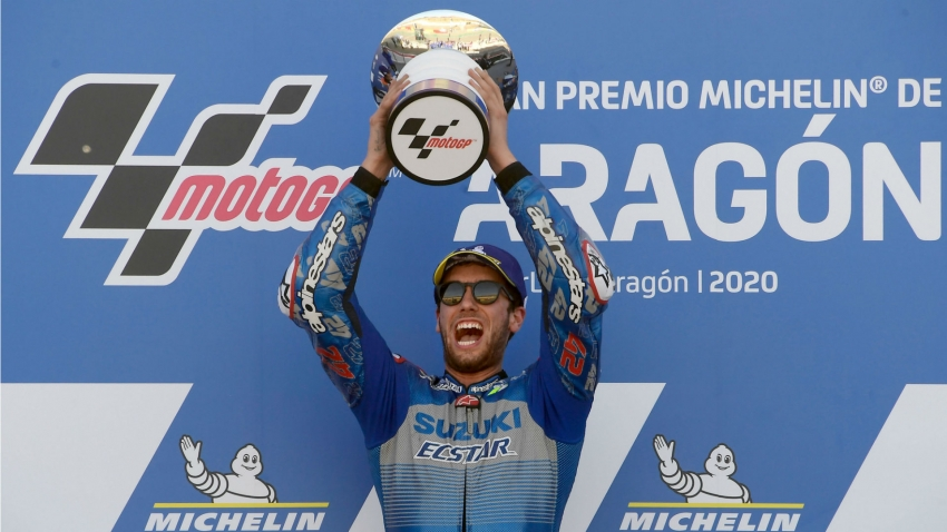 Rins battles past Marquez to win Aragon GP