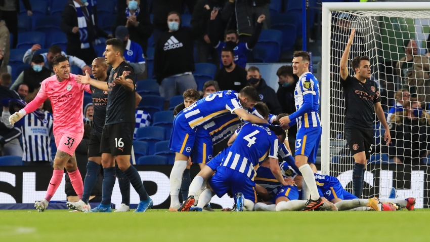 Brighton and Hove Albion 3-2 Manchester City: Burn clinches stunning comeback win