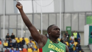 Anderson Peters of Grenada points during the men's javelin throw final during the athletics at the Pan American Games in Lima, Peru, Saturday, Aug. 10, 2019. Anderson won the gold medal.
