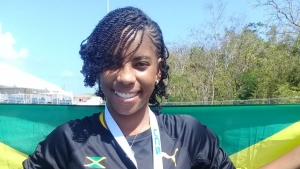 Annishka McDonald after winning Jamaica's first gold medal at the 2019 Carifta Games in the Cayman Islands