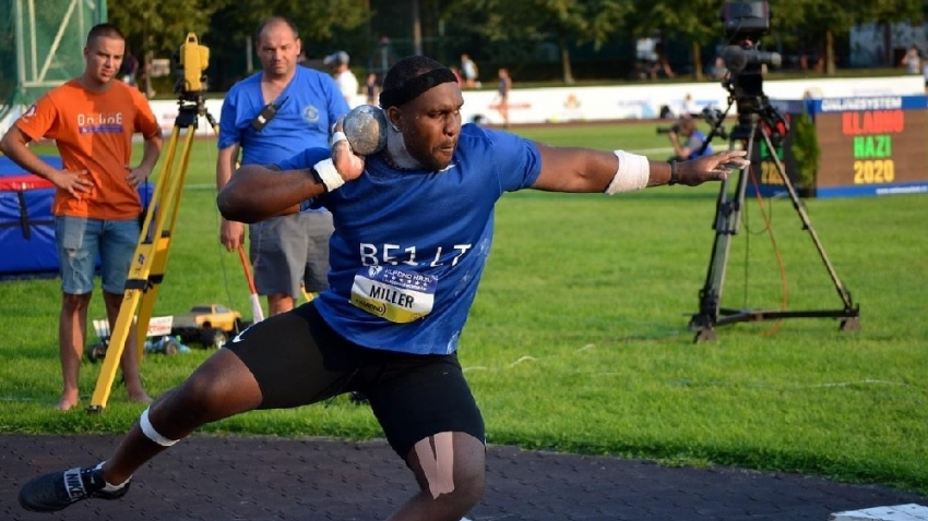 Ashinia Miller produces 20-metre throw for bronze at Czech Republic meet