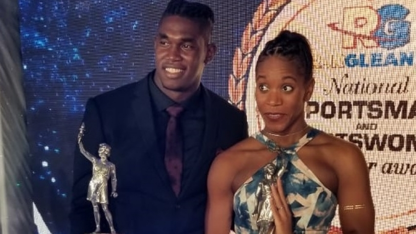 Fedrick Dacres and Sportswoman of the Year Alia Atkinson at the awards ceremony on Friday night.