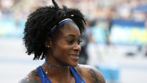 Elaine Thomson of Jamaica smiles after winning the women's 100m at the IAAF Diamond League athletics meeting at Charlety Stadium in Paris on Saturday, August 24, 2019.