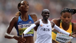 From left: Dalilah Muhammad, Eliud Kipchoge, and Brittany Anderson.