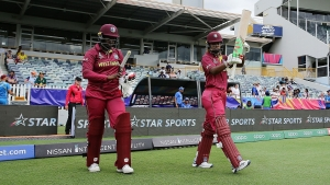 West Indies women's openers Lee Ann Kirby (left) and Hayley Matthews walk out to meet Thailand in their Women's T20 World Cup opener.
