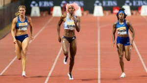 Dafne Schippers (Nederlands), Shaunae Miller-Uibo (Bahrain) and Elaine Thompson (Jamaica) compete in women's 200m at Louis II Stadium during Herculis EBS IAAF Diamond League Meeting on July 12, 2019 in Monaco, Monaco.