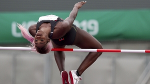Priscilla Frederick ofAntigua and Barbuda competes in the women's high jump during the athletics at the Pan American Games in Lima, Peru, Thursday, Aug. 8, 2019. Frederik won the silver medal.