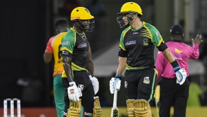 In this handout image provided by CPL T20, Rovman Powell (L) and Ross Taylor (R) of Jamaica Tallawahs during match 29 of the Hero Caribbean Premier League match between Guyana Amazon Warriors and Jamaica Tallawahs at Guyana National Stadium on September 8, 2018 in Providence, Guyana.