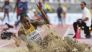 Shanieka Ricketts on her way to a silver medal at the 2019 IAAF World Championships of Athletics in Doha, Qatar.