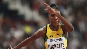 Shanieka Ricketts, of Jamaica, competes in the women's triple jump final at the World Athletics Championships in Doha, Qatar, Saturday, Oct. 5, 2019.