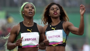 Jamaican sprinter Shelly-Ann Fraser-Pryce and Bahamian Tynia Gaither.