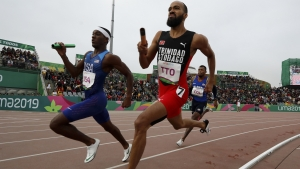 Trinidad and Tobago's Machel Cedenio runs the anchor leg for his 4x400 metres team at the Pan American Games in Lima, Peru.